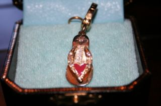 JUICY COUTURE PINK HEART KITTEN HEEL SHOE CHARM   PAVE CRYSTALS