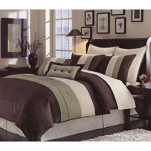 Beautiful 8 Piece Green w Chocolate Brown Comforter Set New King Queen