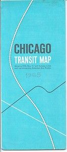 Chicago Transit Map CTA Bus L Subway Lines 1965