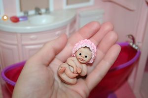Polymer Clay Baby Doll Miniature Girl Sculpt by Sweet Cheeks