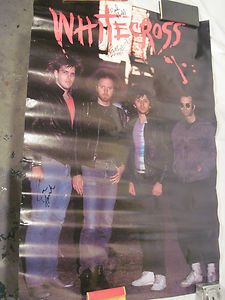 VTG. AUTOGRAPHED WHITE CROSS CHRISTIAN ROCK BAND CONCERT TOUR POSTER