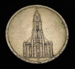 RARE Church 1935 А Germany 5 Silver Marks Coin Nazi Swastika Adolf