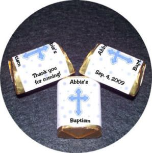 Baptism Confirmation Candy Wrappers Favors Cross Boy