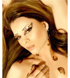Costume Glitter Rhinestone Eye Makeup Cheetah Print
