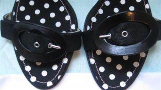 Auth Christian Lacroix Black Polka Dot Buckle Leather Heel Sandal Sz