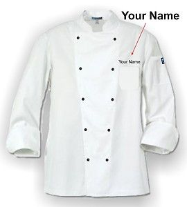 White Chef Coat Free Name Embroidered Black Buttons All Sizes Chef