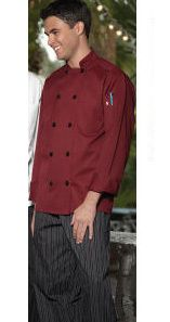 Chef Coats Burgundy Black Buttons Long Sleeves
