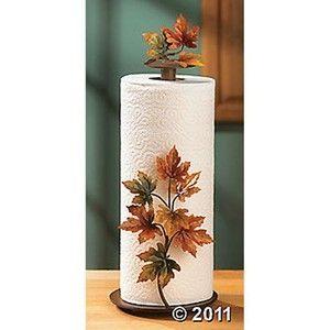 Maple Leaf Paper Towel Holder Decorative Metal Kitchen Accent New