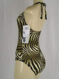 Christina Brown Zebra Print Halter Bathing Swim Suit Swimsuit NEW w/ $
