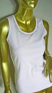 Christine Alexander Swarovski Crystal White Tee Tank Top Shirt M