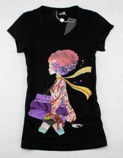 65J Womens Stone Fashion Girl Top T Shirt Sz s XL Black