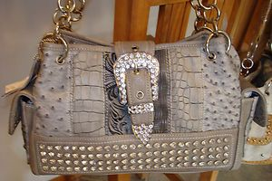 New Western Silverake Rhinestone Purse Handbag w/ Buckle & Patchwork