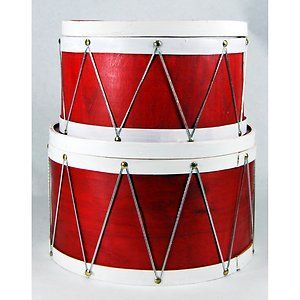 Christmas Holiday Baskets Decor Large Red Wood Drums Nesting Gift