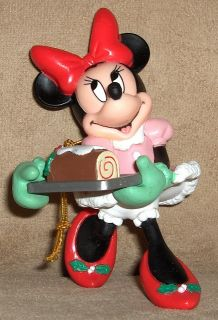 Disney Minnie Mouse Ornament Holding Christmas Fruit Cake