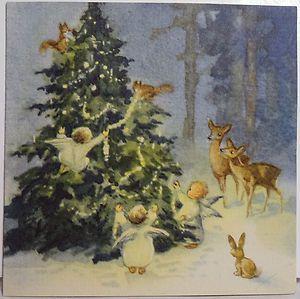 Erika Von Kager Angels & Deer Decorate Tree Vtg Christmas Card #1109