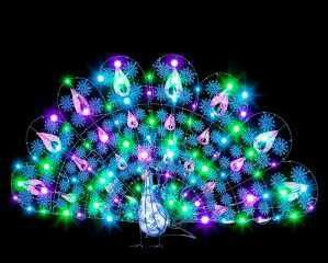 LED Sparkle Peacock Light Show Outdoor Christmas Lights Lawn Display