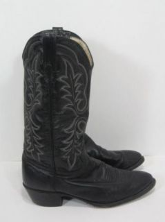 Vintage J. CHISHOLM Handmade Black Leather Cowboy Boots Mens Size 10.5