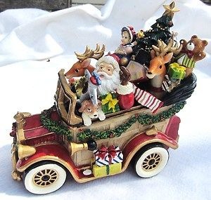 Floyd Ceramic Christmas Music Box Santa Mobile Seigh Music Box