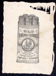 TOBACCO OLD VIRGINIA CHEROOTS ADVERTISING GIRL DOG CARD RICHMOND