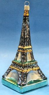 Eiffel Tower Paris France German Glass Christmas Tree Ornament
