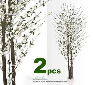Cherry Blossom 7 Real Wood Artificial Trees Potted W