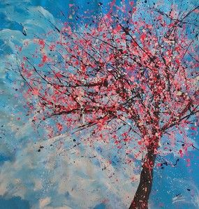2012 by Ben Walker Drip Painting Abstract Tree Cherry Blossom