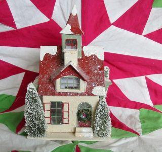 Tiny Christmas House Paper Mache School Putz Tower