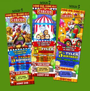 Circus Carnival Clown Birthday Party Invitation Ticket Elephant First