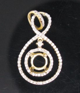 0MM SOLID 14K YELLOW GOLD NATURAL DIAMOND SEMI MOUNT SETTING PENDANT