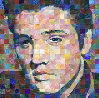 Elvis Presley Portrait by R Huiskens Original Acrylic Painting 20 x