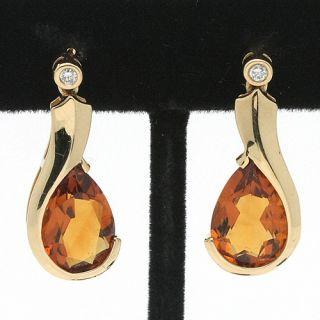 Jewelry Solid 14K Gold Pear Shaped Citrine & Diamond Dangle Earrings