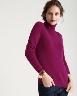 Christopher Fischer New Purple Cashmere Ribbed Trim Turtleneck Sweater