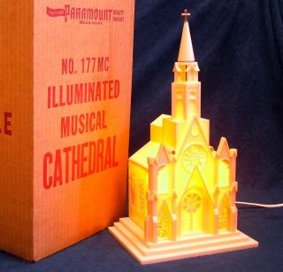 Vintage Lighted Musical Christmas Church Cathedral w Box