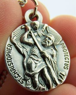 Mens Womens St Saint Christopher 3 4 Hand Crafted Silver Pendant