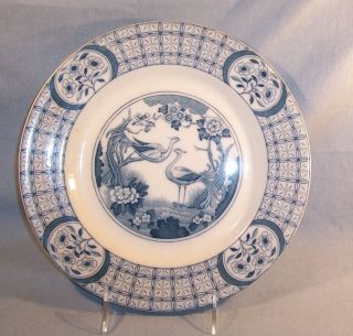 Vintage Antique Johnson Brothers Mongolia Dinner Plate Gray Blue 10 1