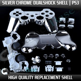 Custom Chrome SILVER PS3 Dual Shock Controller Shells, Parts, Triggers