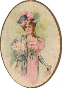 victorian chromo print lovely lady in pink c1880