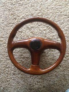 Wood Steering Wheel Rare Momo Italy Vintage Hub Classic Mercedes Chevy