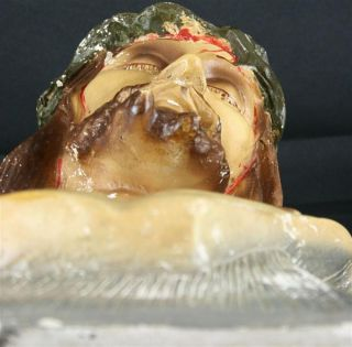 Antique French Chalkware Bust Jesus Christ Crown Thorns