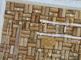 Wall Hung Jewelry Storage Organizer Made from Used Wine Cork Board in