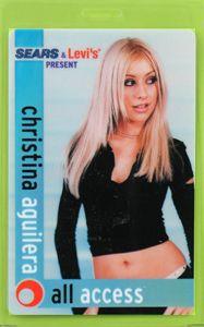Christina Aguilera 2000 Tour Laminated Backstage Pass
