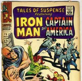 TALES of SUSPENSE 75 Iron Man Captain America from Mar 1966 in fair