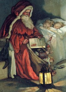 9x6 Print Victorian Children Sleeping Father Christmas Santa Lantern