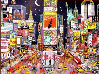 Puzzle Title City Lights New York City, Red, White & Blue
