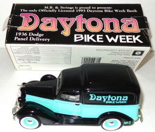 Vintage 1936 Dodge Panel Delivery Truck Bank w Box Daytona Bike Week