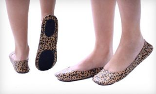 New Cityslips Leopard Print Foldable Ballerina Flats Shoes Tote Bag Sz