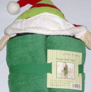 Santas Elf Christmas Hooded Bath Towel Kids Cotton 3 D