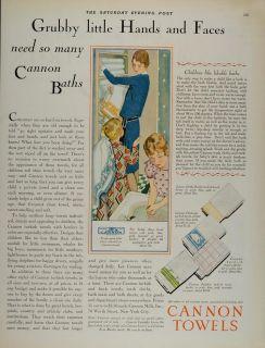 1928 Ad Cannon Bath Towels Children Teddy Bear Flamingo   ORIGINAL