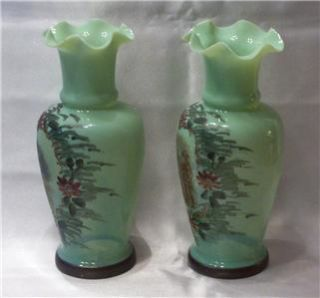 Pair of Hand Painted Green Bristol Vases Beautiful Transfer Images in