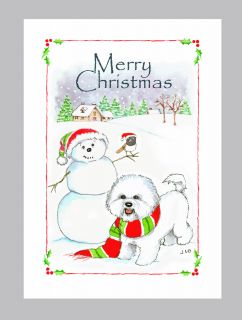 Bichon Frise Dog Christmas Cards Box of 16 Cards 16 White Envelops